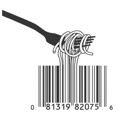 Barcode noodels food art